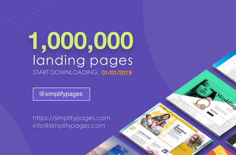 1,000,000 Landing Pages By 01/01/2019